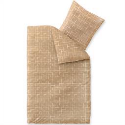 Bettwäsche Garnitur Baumwolle Trend 135x200 Marit sandbeige weiß