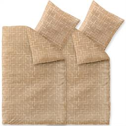 Bettwäsche Garnitur Baumwolle Trend 4 teilig 155x220 Marit sandbeige weiß