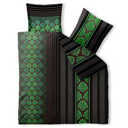 aqua-textil Bettwäsche Garnitur Baumwolle Trend 200x220 Nadra schwarz grau