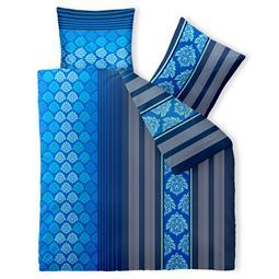 aqua-textil Bettwäsche Garnitur Baumwolle Trend 200x200 Nala blau weiß