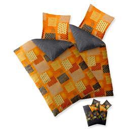 Bettwäsche Garnitur Baumwolle Trend 4 teilig 135x200 Adia grau orange grün