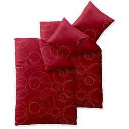 Bettwäsche Garnitur Baumwolle Trend 4 teilig 135x200 Chara rot grau