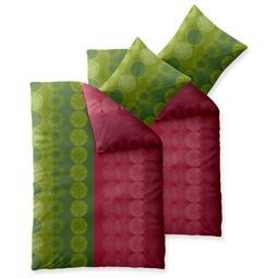 Bettwäsche Garnitur Baumwolle Trend 4 teilig 155x220 Dafina grün pink