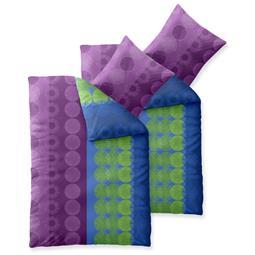 Bettwäsche Garnitur Baumwolle Trend 4 teilig 135x200 Dina blau flieder