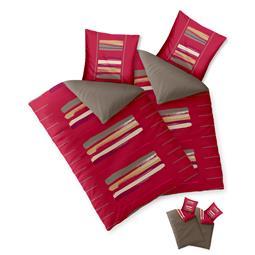 Bettwäsche Garnitur Baumwolle Trend 4 teilig 135x200 Helina rot braun