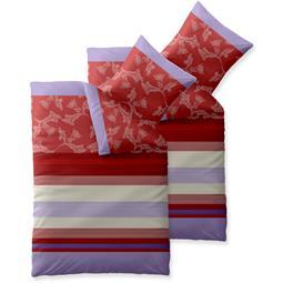 Bettwäsche Garnitur Baumwolle Trend 4 teilig 135x200 Imara rot lavendel