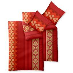 Bettwäsche Garnitur Baumwolle Trend 4 teilig 135x200 Nadia rot orange