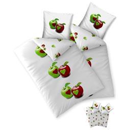 Bettwäsche Garnitur Baumwolle Trend 4 teilig 135x200 Tamea weiss Äpfel