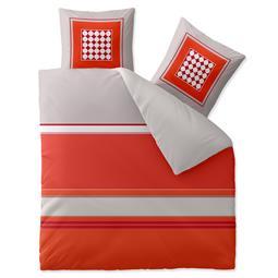 aqua-textil Bettwäsche Garnitur Baumwolle Trend 200x220 Tabita grau rot orange