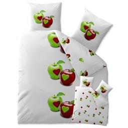 aqua-textil Bettwäsche Garnitur Baumwolle Trend 200x220 Tamea weiß Apfel