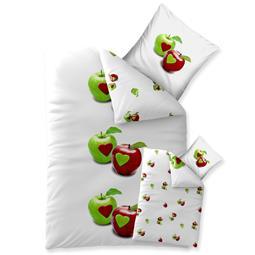 aqua-textil Bettwäsche Garnitur Baumwolle Trend 135x200 Tamea weiß Apfel