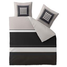 aqua-textil Bettwäsche Garnitur Baumwolle Trend 200x220 Tanja grau schwarz creme