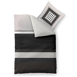 aqua-textil Bettwäsche Garnitur Baumwolle Trend 135x200 Tanja grau schwarz creme