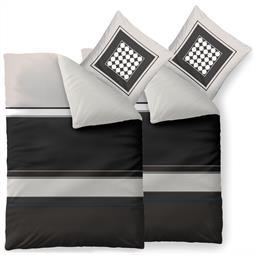 Bettwäsche Garnitur Baumwolle Trend 4 teilig 135x200 Tanja grau schwarz creme