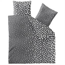 Bettwäsche Garnitur Baumwolle Trend 200x220 Tiara dunkelgrau weiß