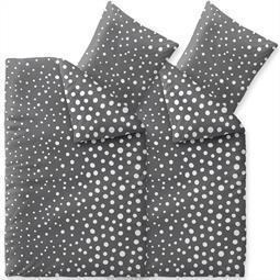 Bettwäsche Garnitur Baumwolle Trend 4 teilig 135x200 Tiara dunkelgrau weiß