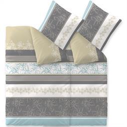 Bettwäsche Garnitur Baumwolle Trend 4 teilig 155x220 Vanesa weiss grau