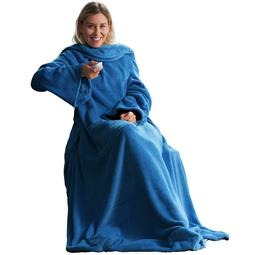 CelinaTex TV Decke Kuscheldecke mit Ärmel und Fußtasche Coral-Fleece 150x180 +35 cm blau
