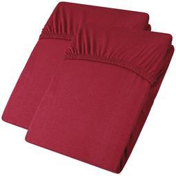 aqua-textil Spannbettlaken Baumwolle Jersey Viana Doppelpack 90x200-100x200 bordeaux