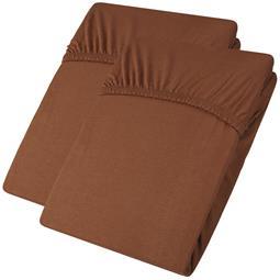 aqua-textil Spannbettlaken Baumwolle Jersey Viana Doppelpack 90x200-100x200 braun
