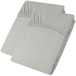 aqua-textil Spannbettlaken Baumwolle Jersey Viana Doppelpack 90x200-100x200 grau