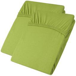 aqua-textil Spannbettlaken Baumwolle Jersey Viana Doppelpack 90x200-100x200 grün