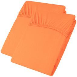 aqua-textil Spannbettlaken Baumwolle Jersey Viana Doppelpack 90x200-100x200 orange