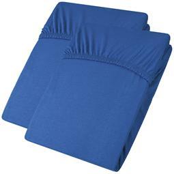 aqua-textil Spannbettlaken Baumwolle Jersey Viana Doppelpack 90x200-100x200 royalblau