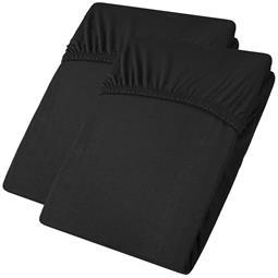 aqua-textil Spannbettlaken Baumwolle Jersey Viana Doppelpack 90x200-100x200 schwarz