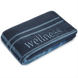 Saunatuch Frottee Stickerei Wellness 80x200 cm dunkelblau