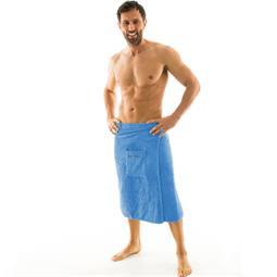 aqua-textil Saunakilt Herren Frottee Klettverschluss Wellness 70x160 cm hellblau