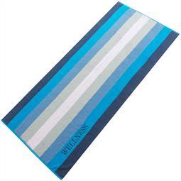 Saunatuch Frottee Streifen Wellness 80x200 blau