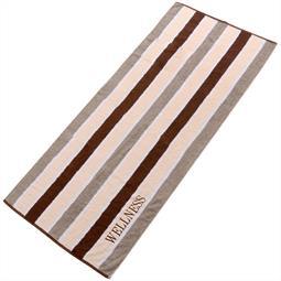 aqua-textil Saunatuch Frottee Streifen Wellness 80x200 braun
