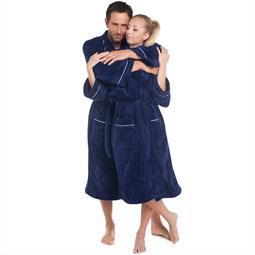 CelinaTex Bademantel Coral Fleece Kimono Damen und Herren flauschig Wellsoft blau S