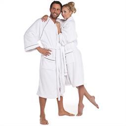 CelinaTex Bademantel Coral Fleece Kimono Damen und Herren flauschig Wellsoft weiss M