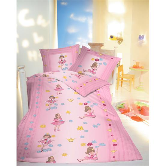 kinder bettw sche garnitur linon baumwolle gr 135x200 m dchen ballerina rosa 4048779183094 ebay. Black Bedroom Furniture Sets. Home Design Ideas